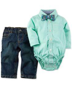 Carter's Baby Boys' 3-Piece Plaid Bodysuit, Pants & Bowtie Set