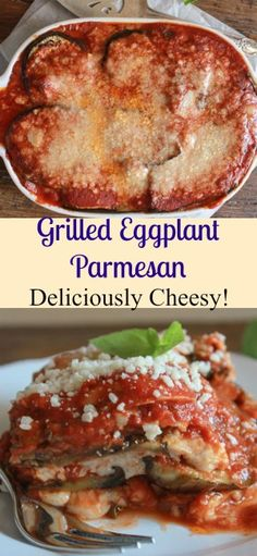 Grilled Eggplant Parmesan is a delicious classic Italian recipe, an easy no-fry baked cheesy dish the whole family will love, gluten free, vegetarian/anitalianinmykitchen.com