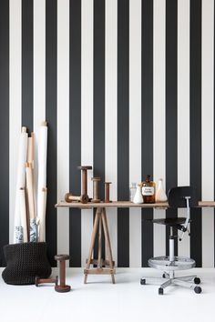 Black and White striped wallpaper. Yes, Please! Via creature comforts at http://www.creaturecomfortsblog.com/home/2010/10/21/fancy-this-my-imaginary-life.html