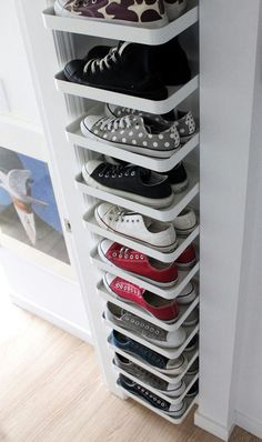 27 Cool & Clever Shoe Storage Ideas for Small Spaces is part of Closet organization designs - Do you have lots of shoes but very little space to store them You've come to the right place! Here are shoe storage solutions perfect for your tiny home! Best Shoe Rack, Diy Shoe Rack, Shoe Racks, Rack Design, Small Storage, Shoe Storage Ideas For Small Spaces, Hidden Storage, Clever Storage Ideas, Beauty Storage Ideas