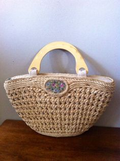 Vintage straw purse with embroidered flower by OneofakindVintage1, $19.95