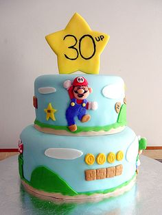 super mario birthday party ideas | Super Mario Brothers cake for a 30th birthday party for a huge video ...