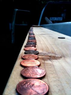 Glued pennies to the side of my square foot garden bed to keep slugs away. Slugs and snails won't cross copper.