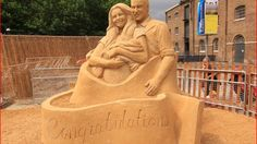 The giant sand sculpture is carved out of 15 tonnes of sand Credit: Brighton Sand Sculpture - ITV News