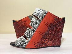 Rebecca Minkoff Skyler White Orange Lizard Women's Fashion Wedge Heels Sandals 7 #RebeccaMinkoff #FashionWedgeHeelsSandals