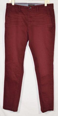 BANANA REPUBLIC Men's Burgundy Fulton Skinny Pants 32 Waist 32 Inseam Cotton Bld #BananaRepublic #CasualPants