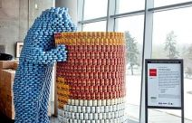 """Canstruction – One """"can"""" make a difference - another version of the Denver blue bear."""
