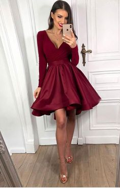 Buy directly from the world's most awesome indie brands. Or open a free online store. - - Burgundy Long Sleeves V-Neck Satin Short Prom Dresses Burgundy Long Sleeves Homecoming Dresses Burgundy Graduation Dresses on Storenvy Source by nhiruninana Long Sleeve Homecoming Dresses, Mini Prom Dresses, Burgundy Homecoming Dresses, Evening Dresses With Sleeves, Homecoming Dresses For Freshman, Red Graduation Dress, Summer Dresses, Wedding Dresses, Dresses Elegant