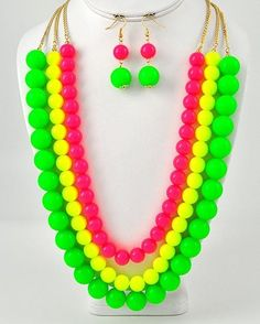 Chunky Gold Tone Neon Yellow Pink Green Costume Jewelry Earring Necklace Set | eBay $21.99