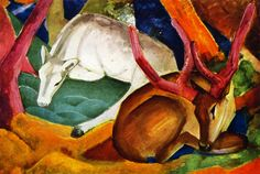 """Franz Marc, Stags in the Woods, 1911 """"This was was confiscated by the nazis as degenerate art. Its current whereabout are unknown if it still exists at all. """" –www.the-athenaeum.org Just a note: I..."""
