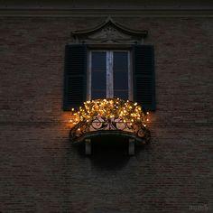 balcony with fairy lights