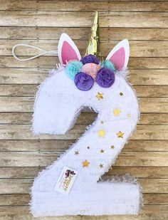 Handcrafted pinata made from recycled cardboard Available as a traditional whack pinata Approx. Size (with horn) is 30 Tall 16 wide… Unicorn Themed Birthday Party, First Birthday Parties, Birthday Party Decorations, Girl Birthday, Unicorn Pinata, Unicorn Party, Finger Puppet Patterns, Diy For Kids, Horn