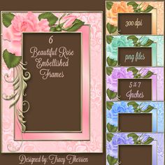 Lovely Roses Frames - $1.00 : Delightful-Doodles Designs!, Baby graphis ,wedding graphics, and printables including bags, purses and boxes for crafters, scrapbookers, candy wrappers and creative folks.