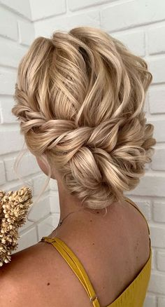 "70 Gorgeous Wedding Hairstyles That Make You Say ""Wow!"" Bridal Hair provide the perfect finishing touches to your wedding day look and really make you shine on your big day. Wedding hairstyles can be really hard to. Low Bun Wedding Hair, Hairdo Wedding, Bridal Hair Updo, Long Hair Wedding Styles, Wedding Hair And Makeup, Upstyle Wedding Hair, Bridesmaid Hair Updo Elegant, Wedding Hair Blonde, Medium Length Wedding Hair"