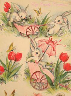 Vintage Easter Wrapping Paper - So Cute! Vintage Easter, Vintage Holiday, Vintage Gifts, Easter Art, Easter Crafts, Easter Bunny, Vintage Greeting Cards, Vintage Postcards, Kitsch
