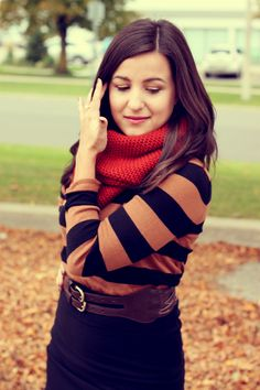 Stripes, belt, chunky scarf