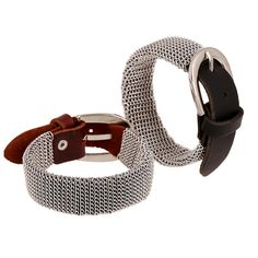 2017 New Mesh Chain Bracelets Fashion Brand Belt-clasps Classic Leather Metal Silver Plated Bracelets for Women Men Jewelry
