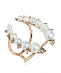 Annoushka Rose Gold Diamond and Pearl Ring | Accessories | Liberty.co.uk