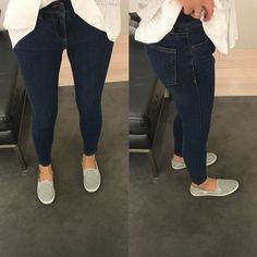 Ann Taylor Modern Super Skinny Jeans in deco wash, size 0P - review on www.whatjesswore.com