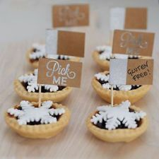 Mince Pie Sticks - Pack of 12 Description: This pack of 12 silver glitter and kraft brown mi Kraft Recipes, Cupcake Picks, Cupcake Cakes, Fun Party Themes, Cocktail Sticks, Cake Craft, Food Picks, Mince Pies, Cake
