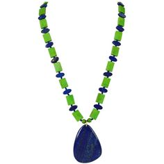 Green Mojave Turquoise Lapis Lazuli Gold Pendant Necklace | 1stdibs.com