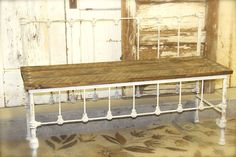 metal bed turned bench!
