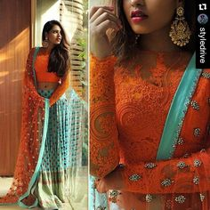 Its raining tangerine and aqua #MonishaJaising #Repost @styledrive ・・・ I am a sucker for details & this @monishajaising ensemble is the perfect combination of it all. #love #indian #outfit #monishajaising #details #instadaily #dailyfeature