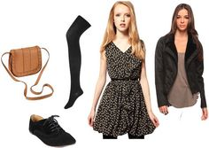 Outfit inspired by Taylor Swift: Patterned dress, opaque tights, black oxfords, motorcycle jacket