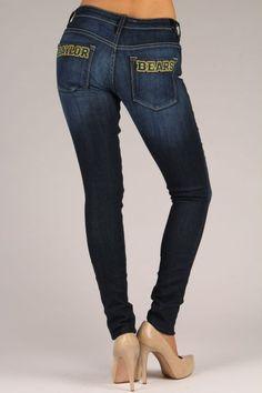 OCJ Apparel | Premium Collegiate Denim | Baylor Bears Skinny Jeans Baylor Bears in Deep Indigo | www.ocjapparel.com