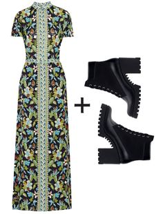 The 7 Cool-Girl Ways to Toughen Up Your Pretty Floral Dresses - Royal Florals + Street-Chic Lace-Ups  - from InStyle.com
