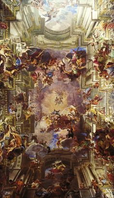 [Baroque] Trompe l'oeil ceiling fresco by Andrea Pozzo. The ceiling is completely flat, including the dome. This masterpiece is the nave ceiling of the Church of Sant'Ignazio in Rome. Baroque Painting, Baroque Art, Baroque Period Art, Italian Baroque, Art Et Architecture, Renaissance Art, Christian Art, Kirchen, Religious Art