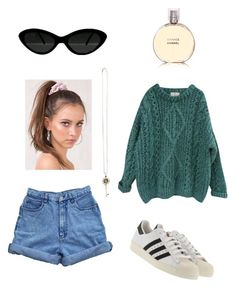 """"""";)"""" by totallytuubular ❤ liked on Polyvore featuring Essentiel, adidas Originals, Tiffany & Co. and Chanel"""