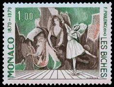 プーランクの作曲、マリー・ローランサンの衣裳・装置、ニジンスカの振付による『牝鹿』。