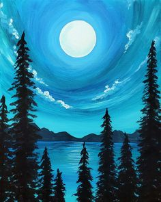 Find Paint & Sip Studio Near Me - Wine and Painting Near Me Use shades of blue to create this peaceful Moon Glow Forrest Easy Canvas Painting, Simple Acrylic Paintings, Diy Canvas Art, Canvas Tent, Canvas Frame, Sunrise Painting, Moon Painting, Night Sky Painting, Easy Landscape Paintings