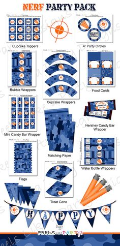 Nerf Party Pack with Blue Camo - Printable - Instant Download - Everything you need for your upcoming Nerf Party!