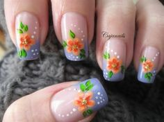 French manicure with flower