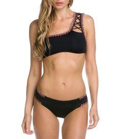 1013e8d12e Becca by Rebecca Virtue Mardi Gras Lace-Up One-Shoulder Bra Top & American