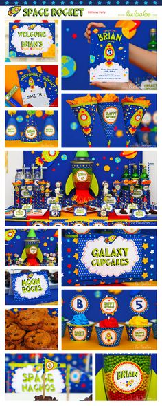 Space Rocket Birthday Party Package Collection Set by LeeLaaLoo, $35.00