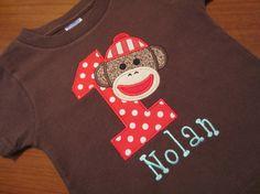Personalized Sock Monkey Birthday Shirt,T Shirt