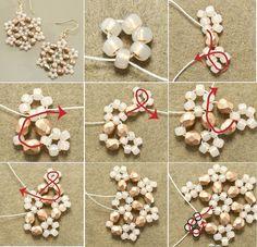Beaded Snowflake Earrings - for Mom? Beaded Christmas Ornaments, Christmas Jewelry, Christmas Crafts, Diy Ornaments, Felt Christmas, Homemade Christmas, Glass Ornaments, Christmas Decorations, Snowflake Craft