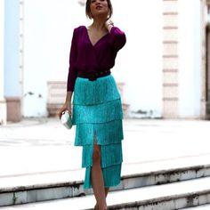 FLECOS AGUMARINA 1 Blouse And Skirt, Skirt Suit, Lace Skirt, Skirt Outfits, Cute Outfits, Evening Dresses, Prom Dresses, Fashion Dresses, Street Style