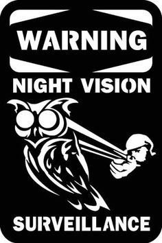 Night Vision with Owl Warning Sign - DXF File Only