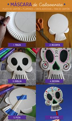 Calavera mexicana. Halloween Arts And Crafts, Fall Crafts, Halloween Crafts, Holiday Crafts, Halloween Decorations, Halloween Party, Day Of The Dead Diy, Day Of The Dead Party, Fall Art Projects