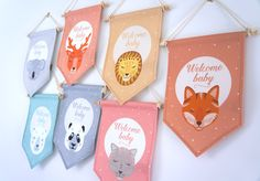 Fanion welcome baby, kids room baby's room, nursery decor - En Route Félicie