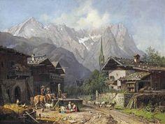 An alpine village with cattle near a well von Heinrich Bürkel Landscape Art, Landscape Paintings, Lawrence Alma Tadema, Alpine Village, Forgotten Realms, Hieronymus Bosch, Cattle, Art Decor, Medieval