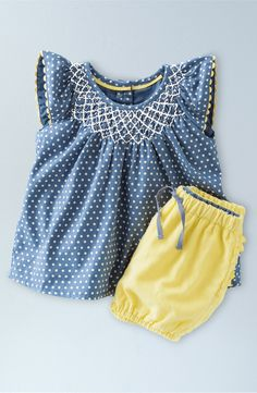 Mini Boden 'Pretty' Print Flutter Sleeve Top & Bubble Shorts Set (Baby Girls & Toddler Girls)