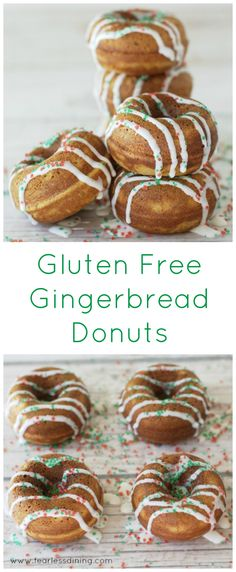 The Best Gluten Free Gingerbread Donut Recipe - Fearless Dining Gluten Free Doughnuts, Gluten Free Treats, Gluten Free Cakes, Gluten Free Baking, Gluten Free Desserts, Gf Recipes, Donut Recipes, Gluten Free Recipes, Recipies