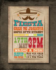 Mexican Fiesta Invitation Customized for You by JellyfishCreatives Mexican Fiesta Party, Fiesta Theme Party, 30th Birthday Parties, Anniversary Parties, Birthday Ideas, Mexican Invitations, Party Invitations, Mexican Birthday, Ideas Geniales