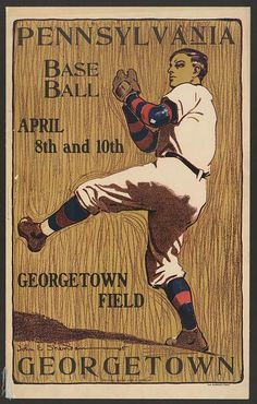 baseball, classic posters, free download, graphic design, retro prints, sports, vintage, vintage posters, Georgetown vs. Pennsylvania, Baseb...