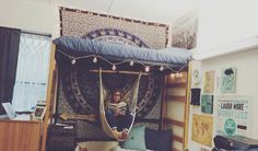 Boho dorm room with hammock More